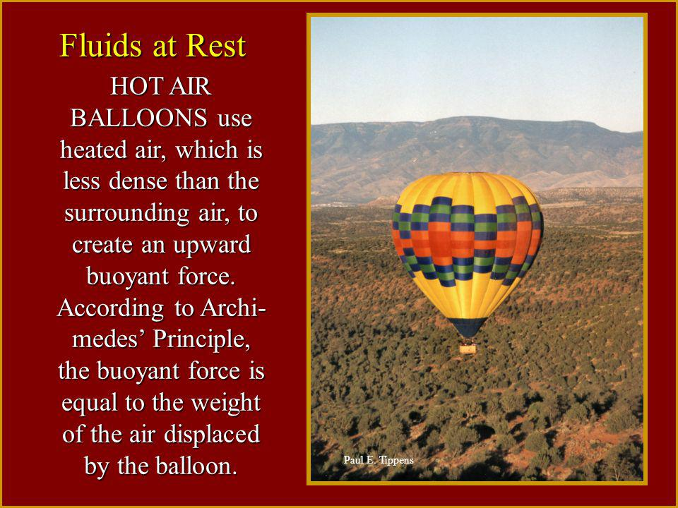 HOT AIR BALLOONS use heated air, which is less dense than the surrounding air, to create an upward buoyant force. According to Archi- medes' Principle, the buoyant force is equal to the weight of the air displaced by the balloon.