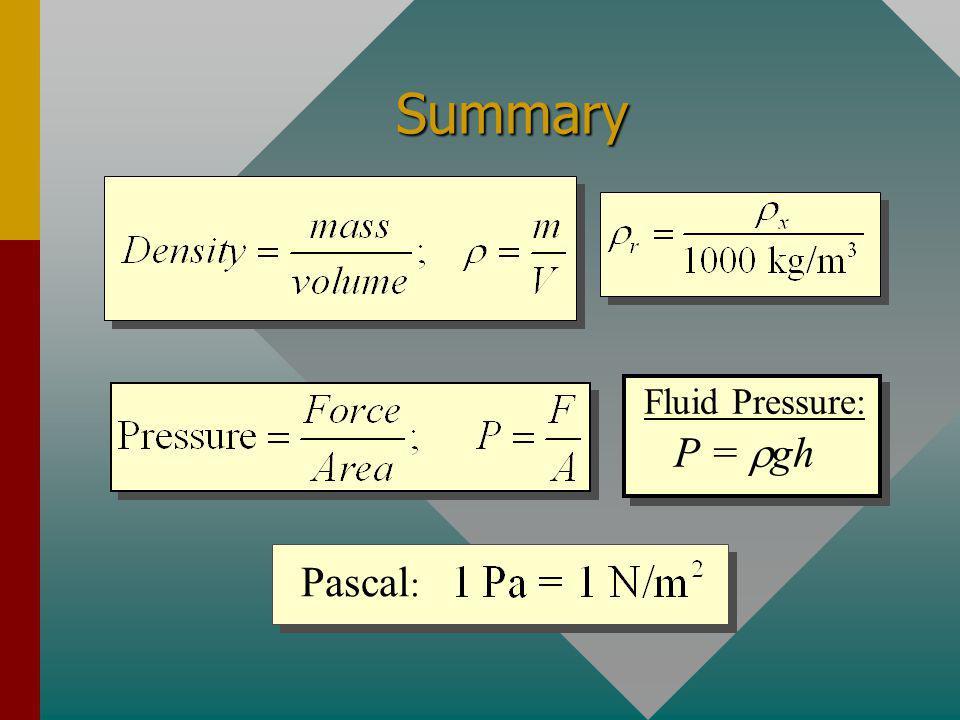 Summary P = rgh Fluid Pressure: Pascal: