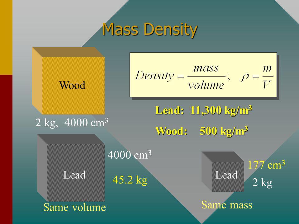 Mass Density 2 kg, 4000 cm3 Wood Lead: 11,300 kg/m3 Wood: 500 kg/m3