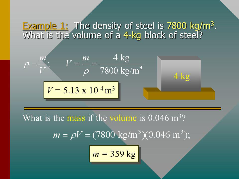 What is the mass if the volume is 0.046 m3