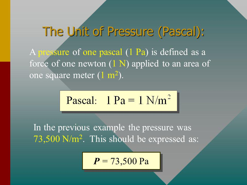 The Unit of Pressure (Pascal):