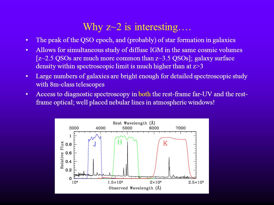 Why z~2 is interesting…. The peak of the QSO epoch, and (probably) of star formation in galaxies.