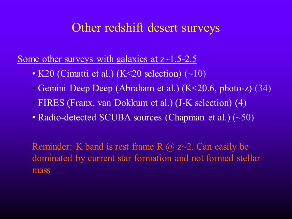 Other redshift desert surveys