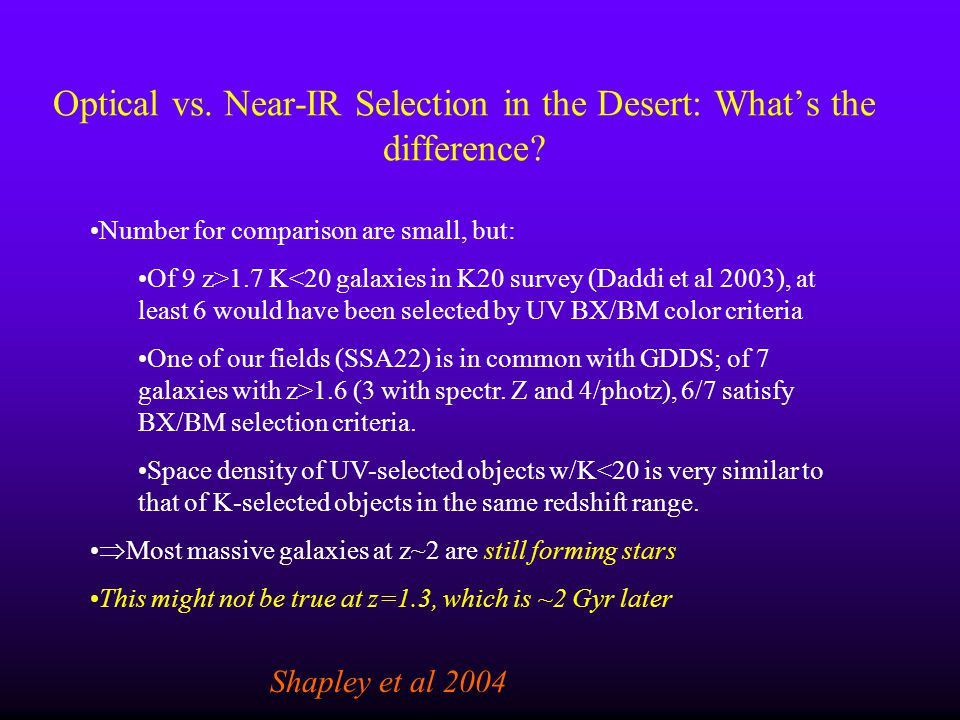 Optical vs. Near-IR Selection in the Desert: What's the difference
