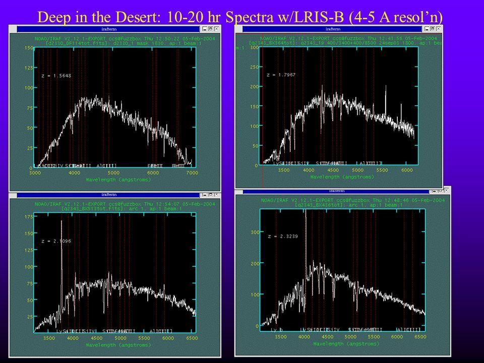 Deep in the Desert: 10-20 hr Spectra w/LRIS-B (4-5 A resol'n)