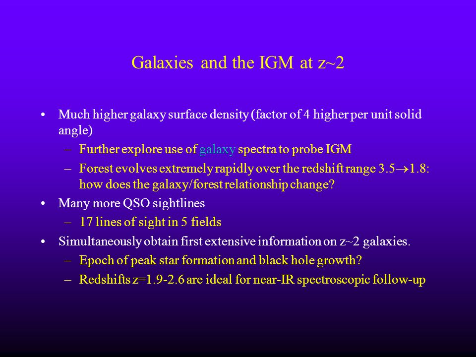 Galaxies and the IGM at z~2