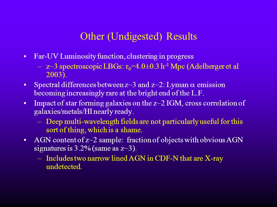 Other (Undigested) Results