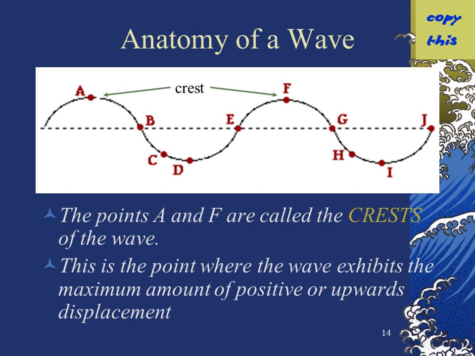 Anatomy of a Wave crest. The points A and F are called the CRESTS of the wave.