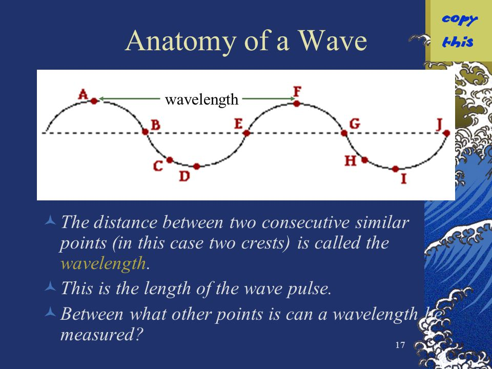 Anatomy of a Wave wavelength. The distance between two consecutive similar points (in this case two crests) is called the wavelength.