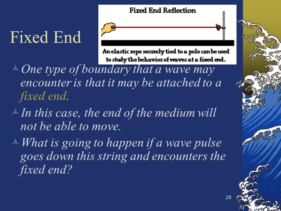 Fixed End One type of boundary that a wave may encounter is that it may be attached to a fixed end.