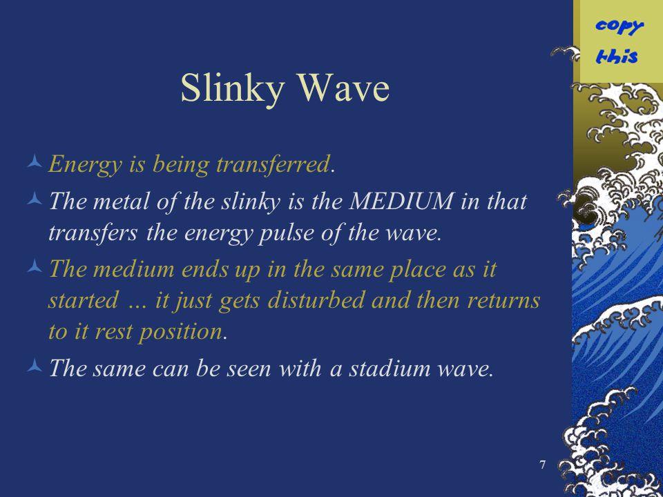 Slinky Wave Energy is being transferred.