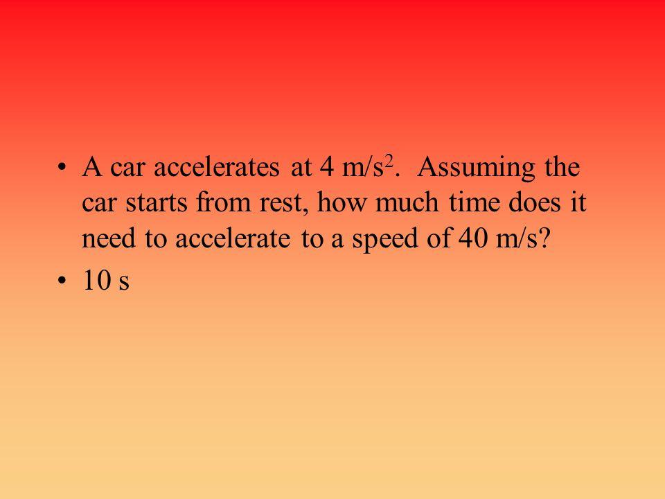 A car accelerates at 4 m/s2