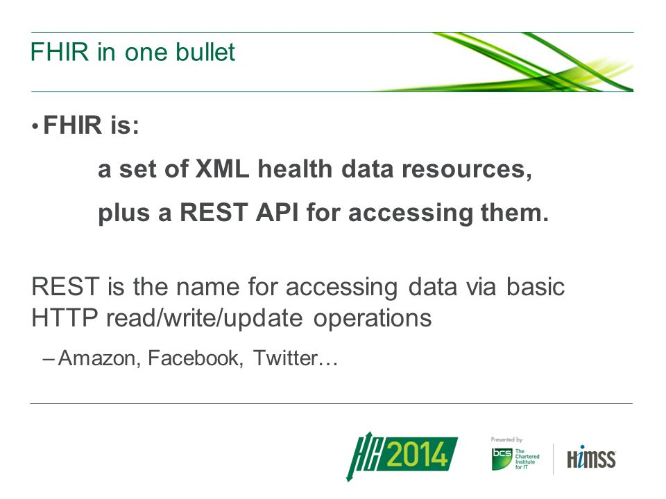 a set of XML health data resources,