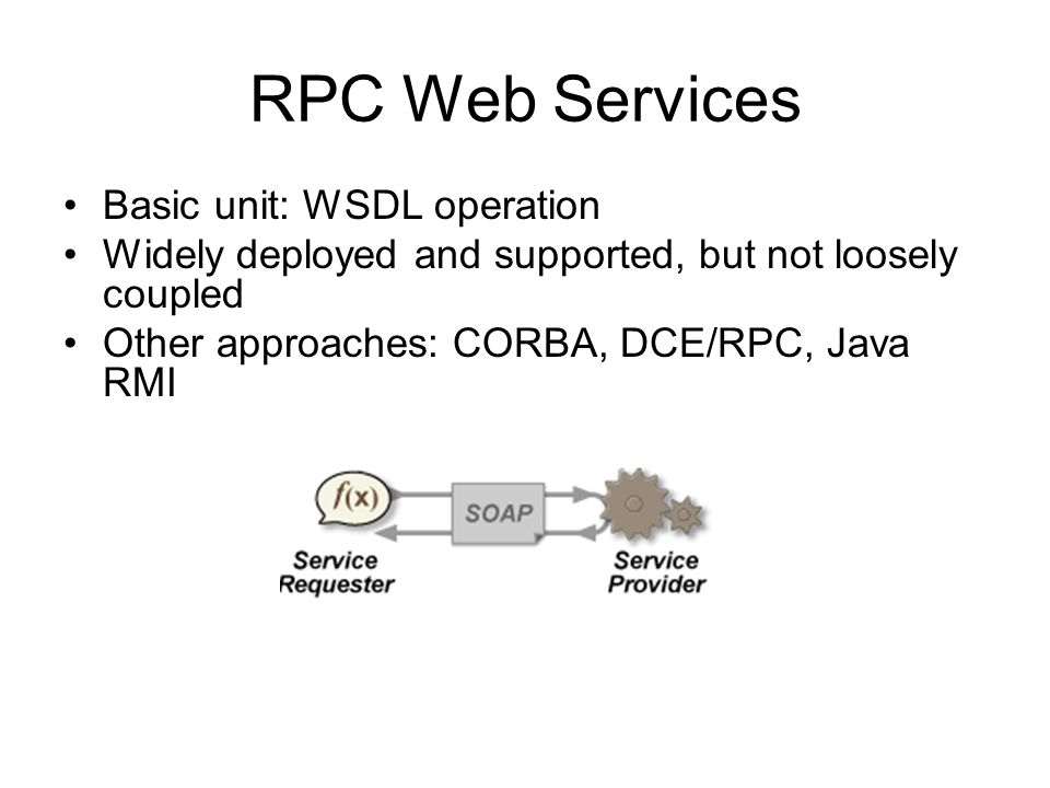 RPC Web Services Basic unit: WSDL operation