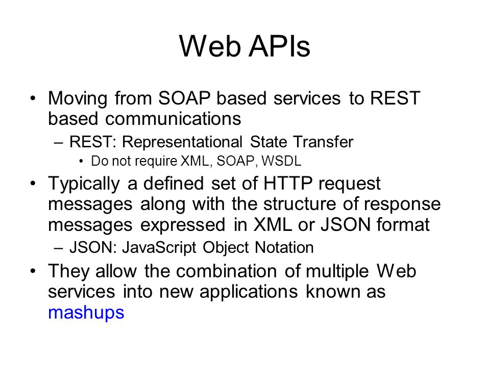 Web APIs Moving from SOAP based services to REST based communications
