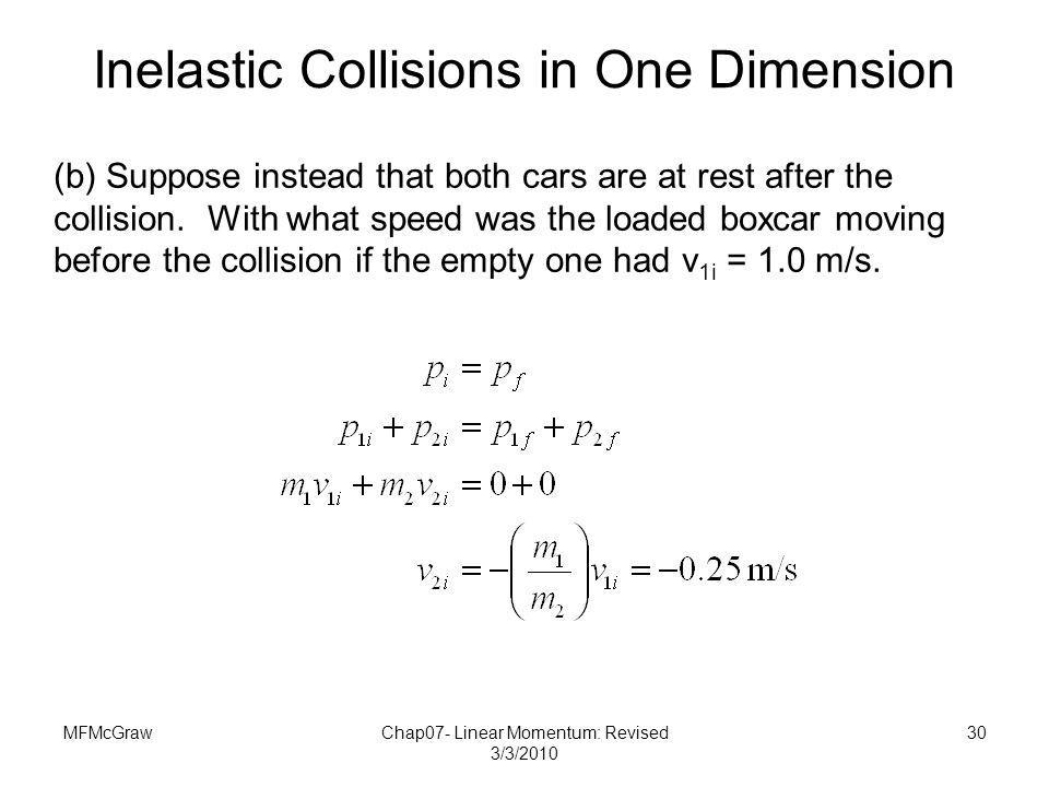 Inelastic Collisions in One Dimension