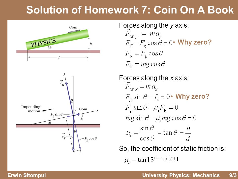 Solution of Homework 7: Coin On A Book