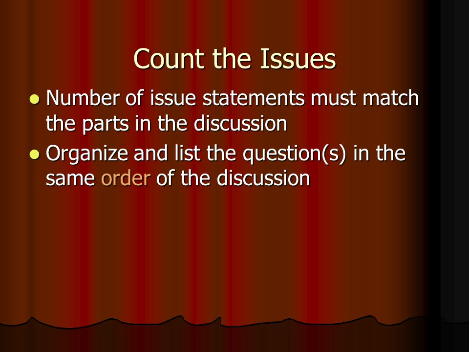 Count the Issues Number of issue statements must match the parts in the discussion.