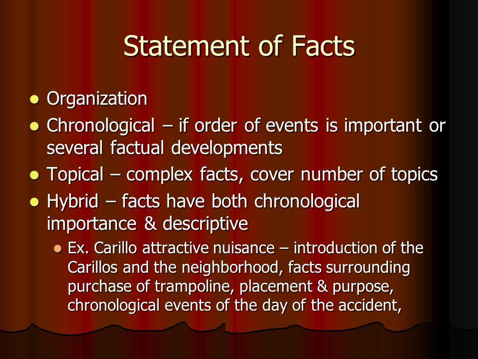 Statement of Facts Organization