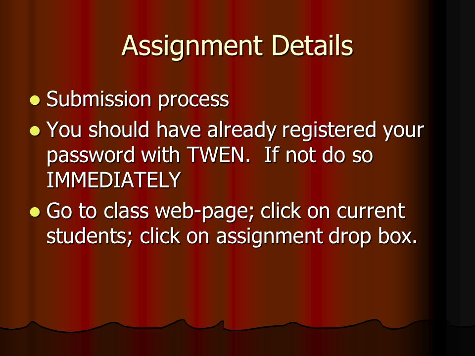 Assignment Details Submission process