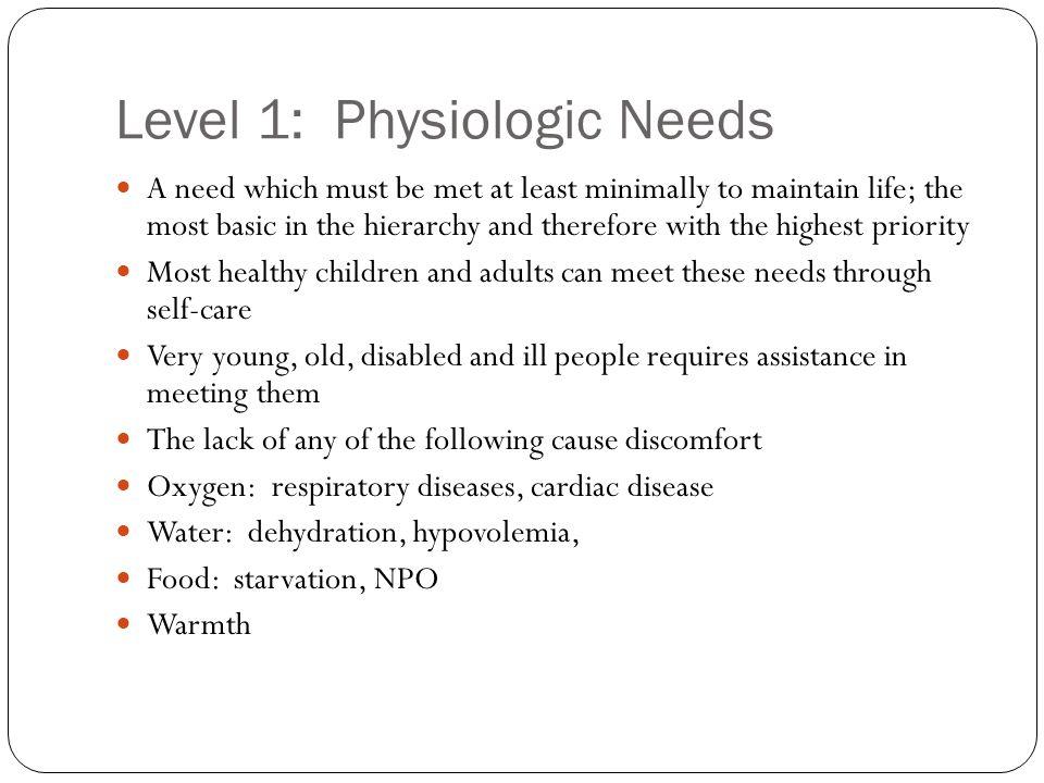 Level 1: Physiologic Needs