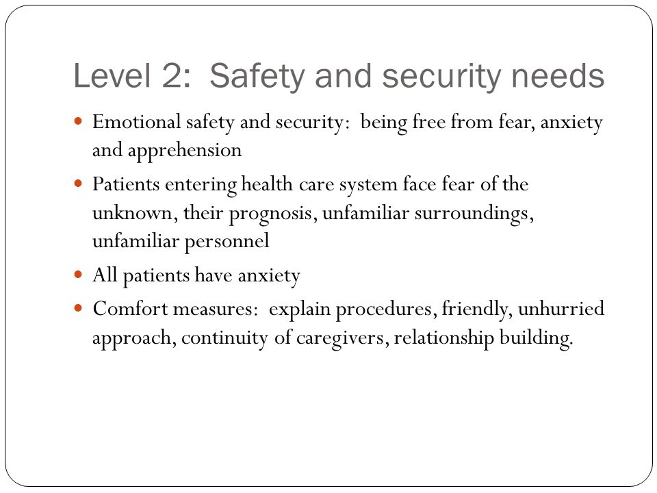 Level 2: Safety and security needs
