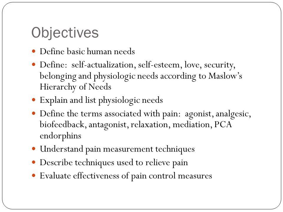 Objectives Define basic human needs