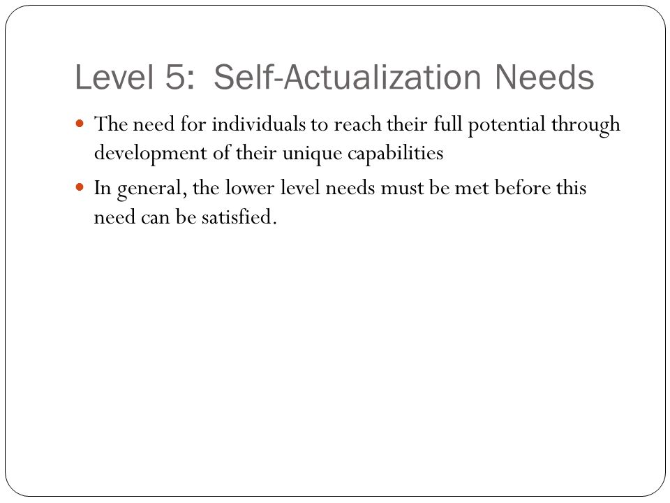 Level 5: Self-Actualization Needs