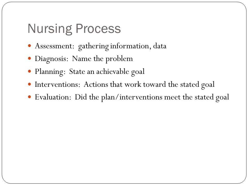 Nursing Process Assessment: gathering information, data