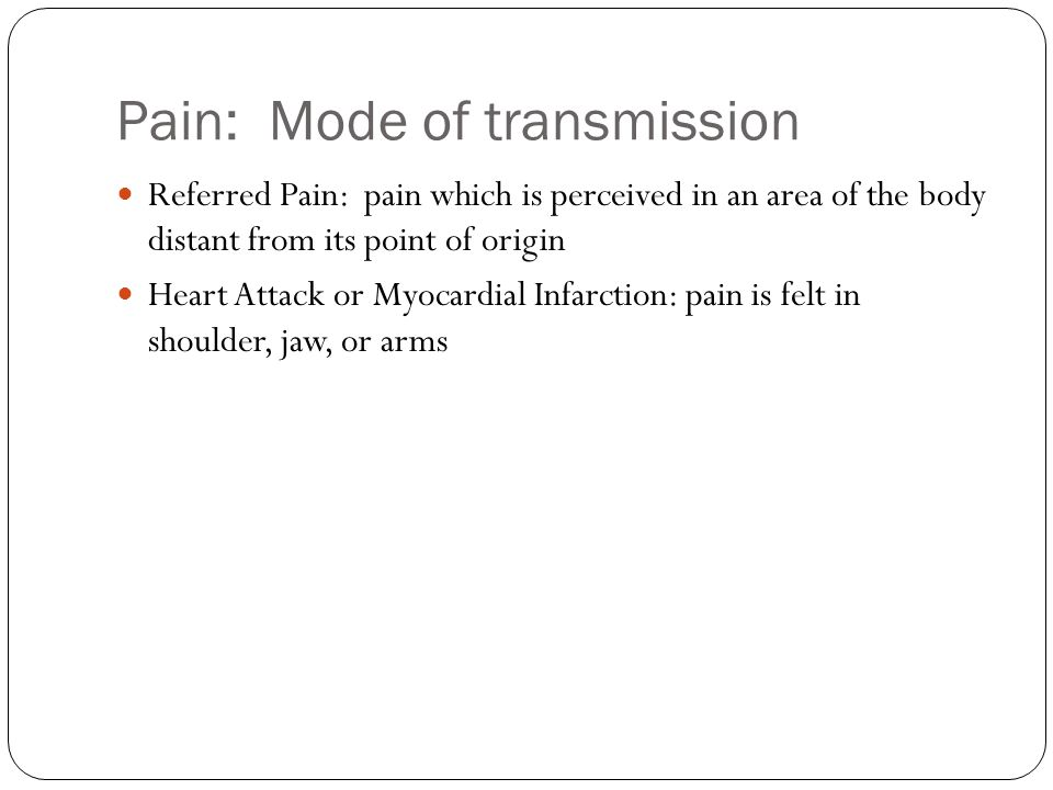 Pain: Mode of transmission