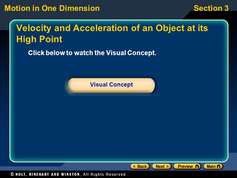 Velocity and Acceleration of an Object at its High Point