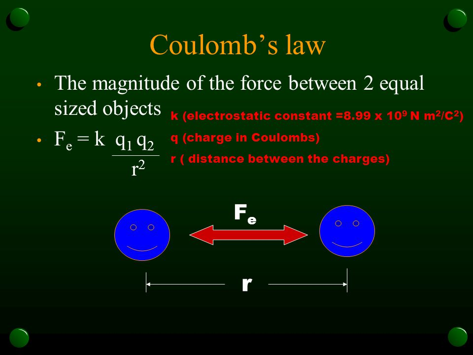 Coulomb's law The magnitude of the force between 2 equal sized objects. Fe = k q1 q2. r2. k (electrostatic constant =8.99 x 109 N m2/C2)