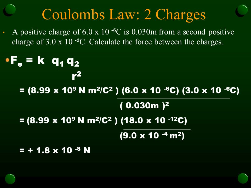Coulombs Law: 2 Charges Fe = k q1 q2 r2