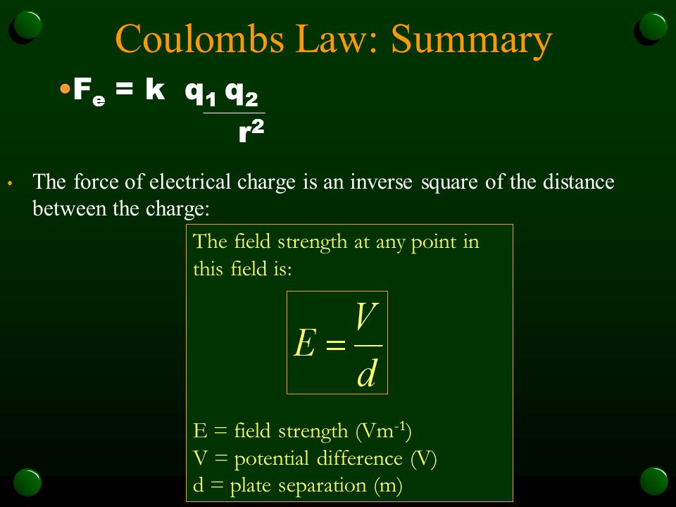 Coulombs Law: Summary Fe = k q1 q2 r2