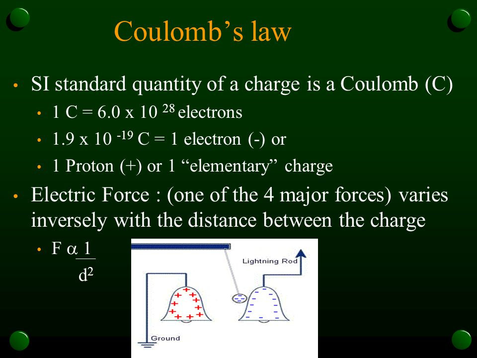 Coulomb's law SI standard quantity of a charge is a Coulomb (C)