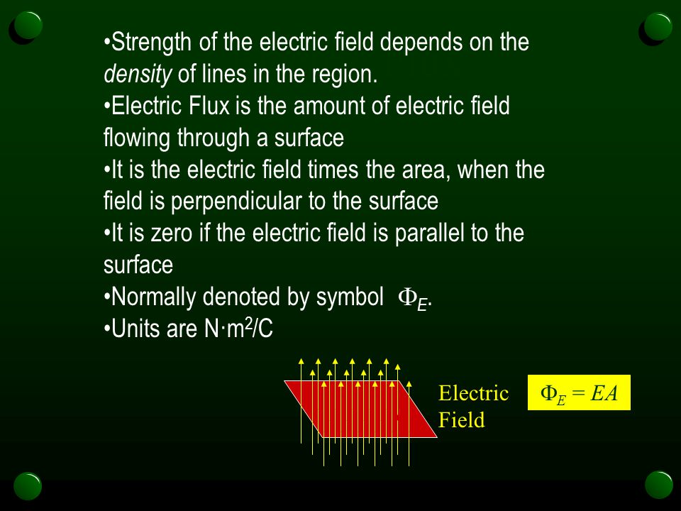 Strength of the electric field depends on the density of lines in the region.