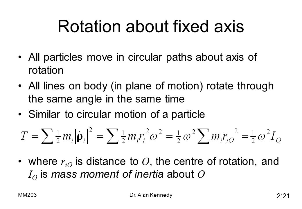 Rotation about fixed axis