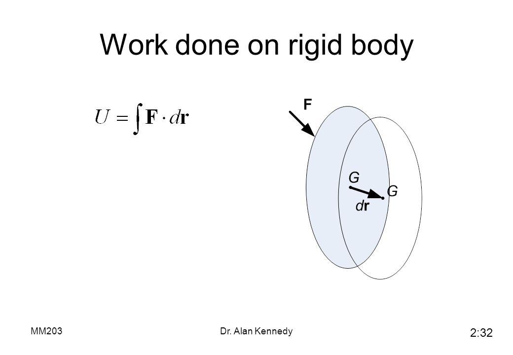 Work done on rigid body MM203 Dr. Alan Kennedy