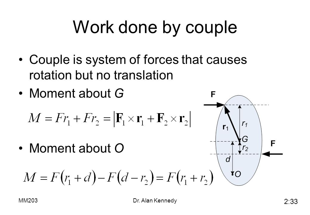 Work done by couple Couple is system of forces that causes rotation but no translation. Moment about G.