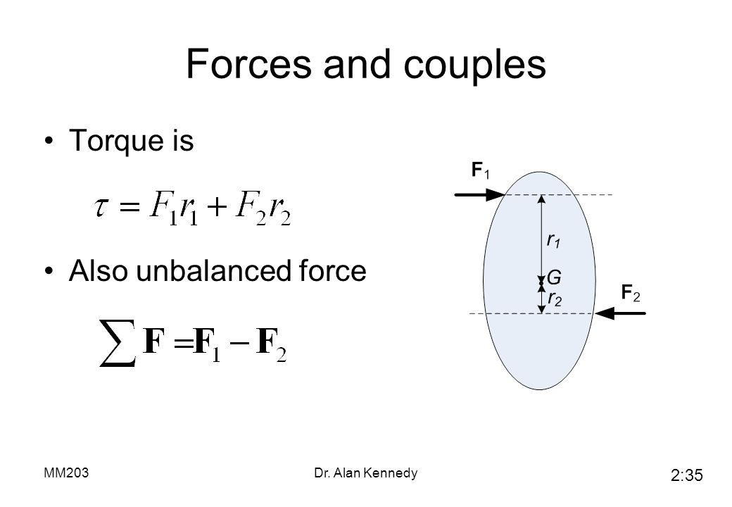Forces and couples Torque is Also unbalanced force MM203