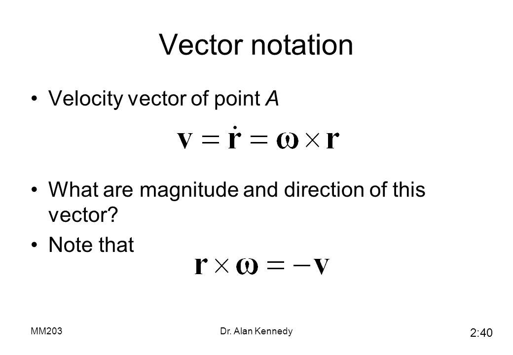 Vector notation Velocity vector of point A