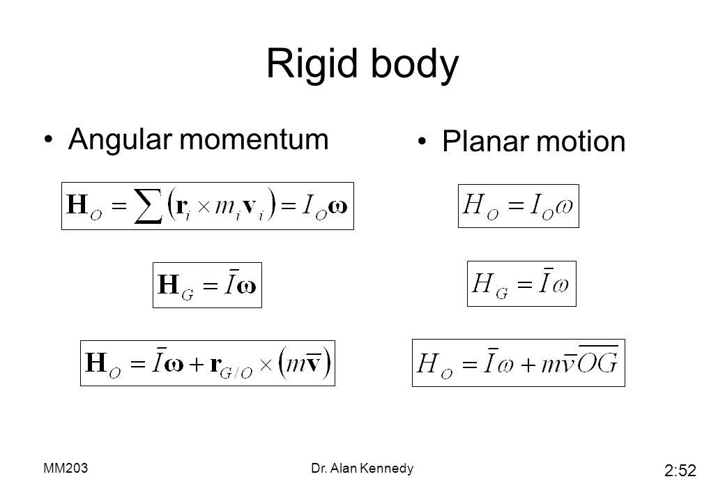 Rigid body Angular momentum Planar motion MM203 Dr. Alan Kennedy