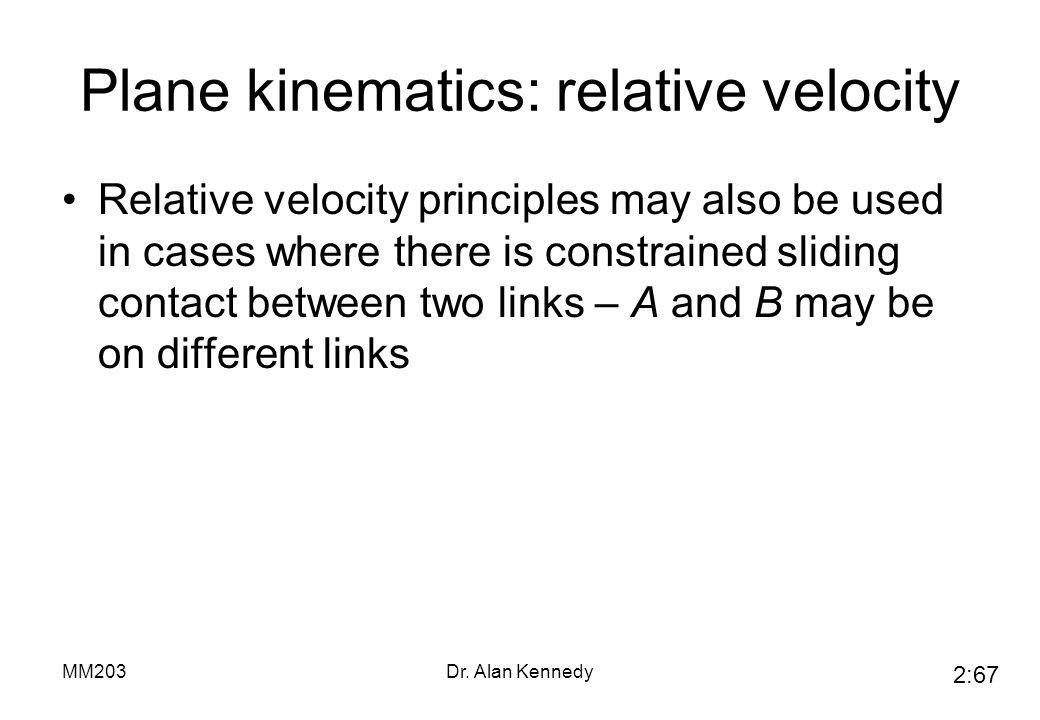 Plane kinematics: relative velocity