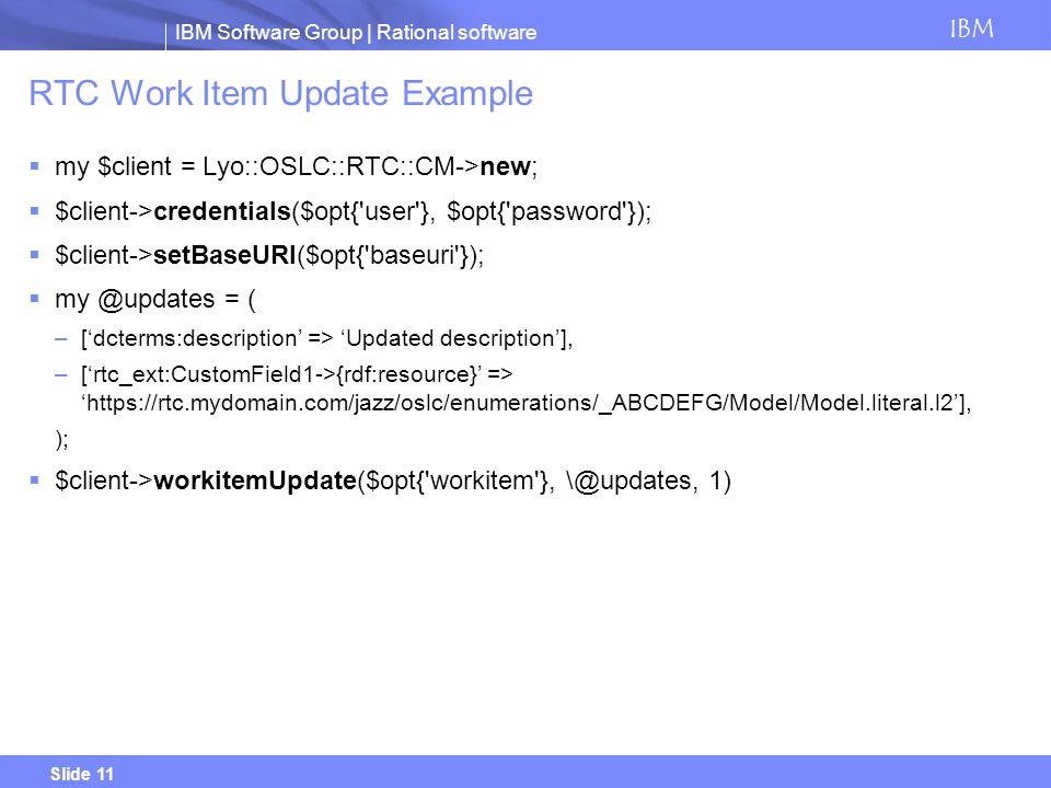 RTC Work Item Update Example