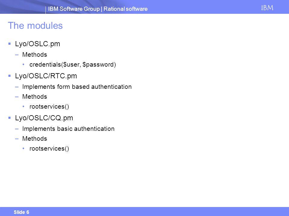 The modules Lyo/OSLC.pm Lyo/OSLC/RTC.pm Lyo/OSLC/CQ.pm Methods