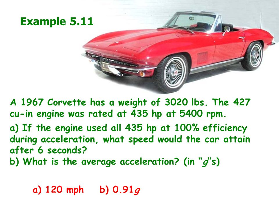 Example 5.11 A 1967 Corvette has a weight of 3020 lbs. The 427 cu-in engine was rated at 435 hp at 5400 rpm.