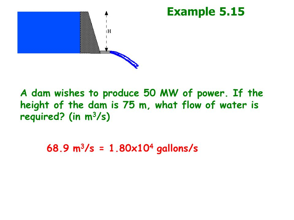 Example 5.15 A dam wishes to produce 50 MW of power. If the height of the dam is 75 m, what flow of water is required (in m3/s)