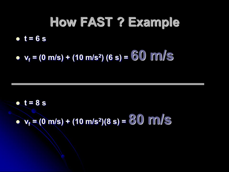 How FAST Example t = 6 s vf = (0 m/s) + (10 m/s2) (6 s) = 60 m/s