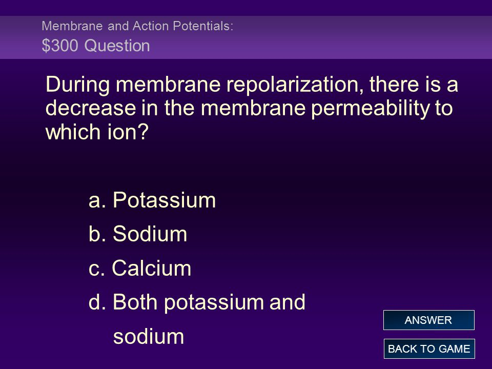 Membrane and Action Potentials: $300 Question