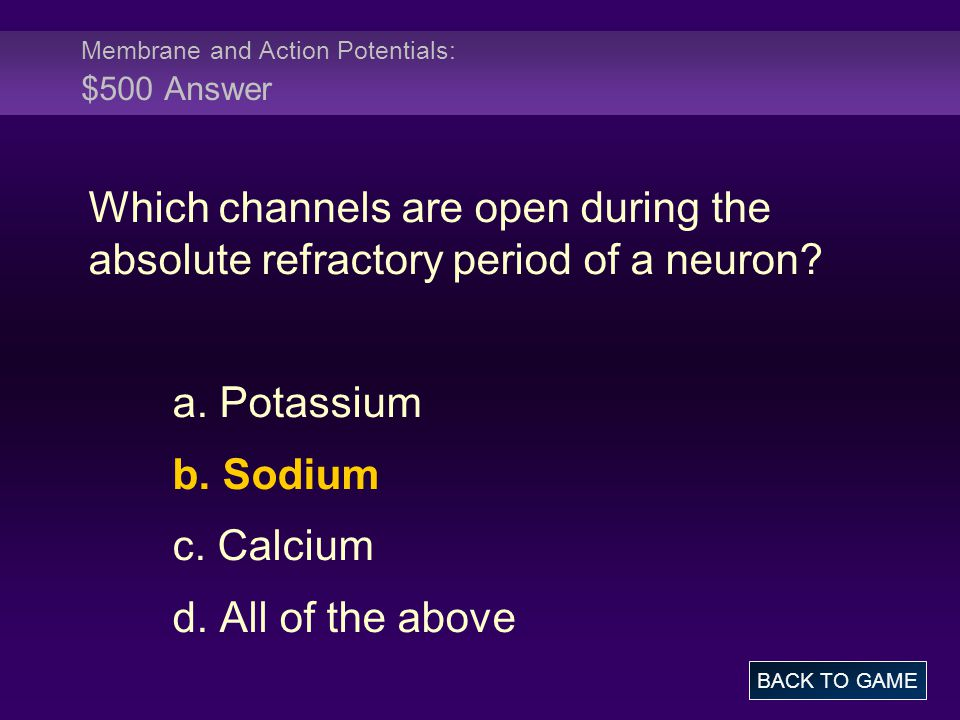 Membrane and Action Potentials: $500 Answer